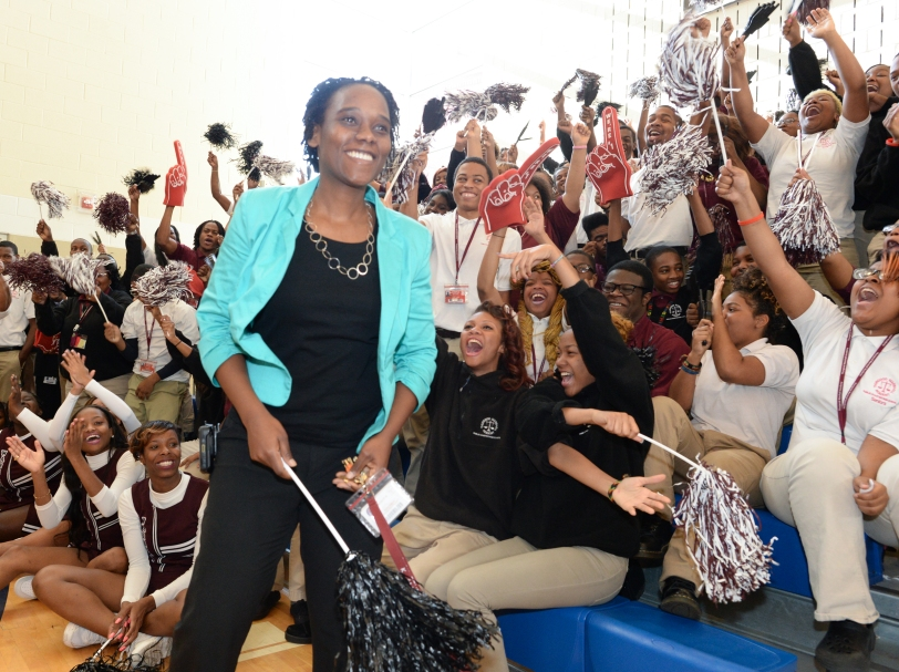 Thurgood Marshall Academy students cheer on Milken Award winner Kena Allison