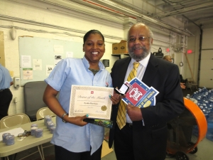 Left to right: Tyokia Harrison, Driver of the Month (June) at 5th Street with Novell Sullivan, OSSE DOT community outreach officer.