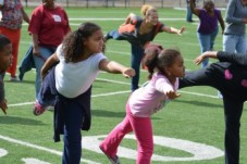 young girls in fitness class at let's move dc